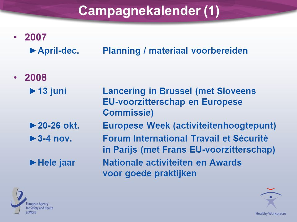 Campagnekalender (1) 2007. April-dec. Planning / materiaal voorbereiden. 2008.