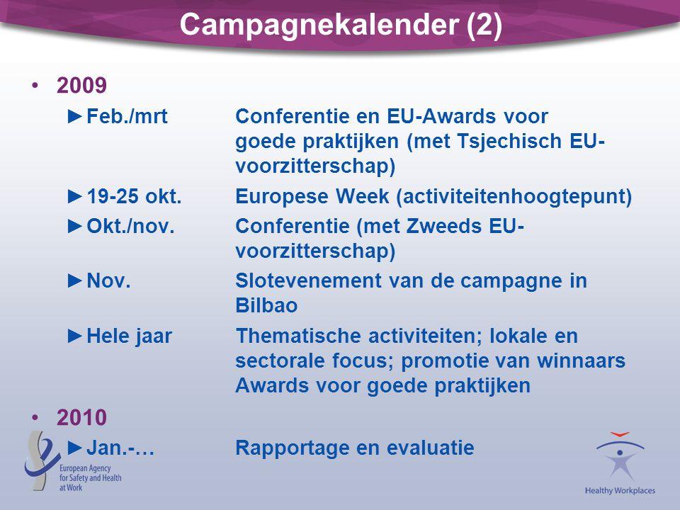 Campagnekalender (2) 2009. Feb./mrt Conferentie en EU-Awards voor goede praktijken (met Tsjechisch EU- voorzitterschap)
