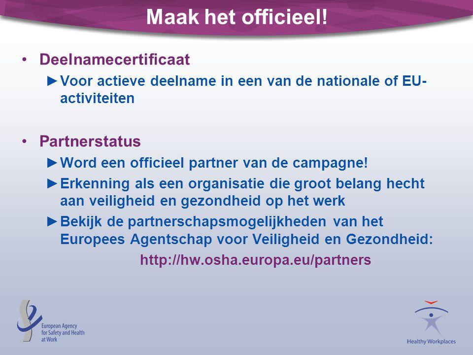 Maak het officieel! Deelnamecertificaat Partnerstatus