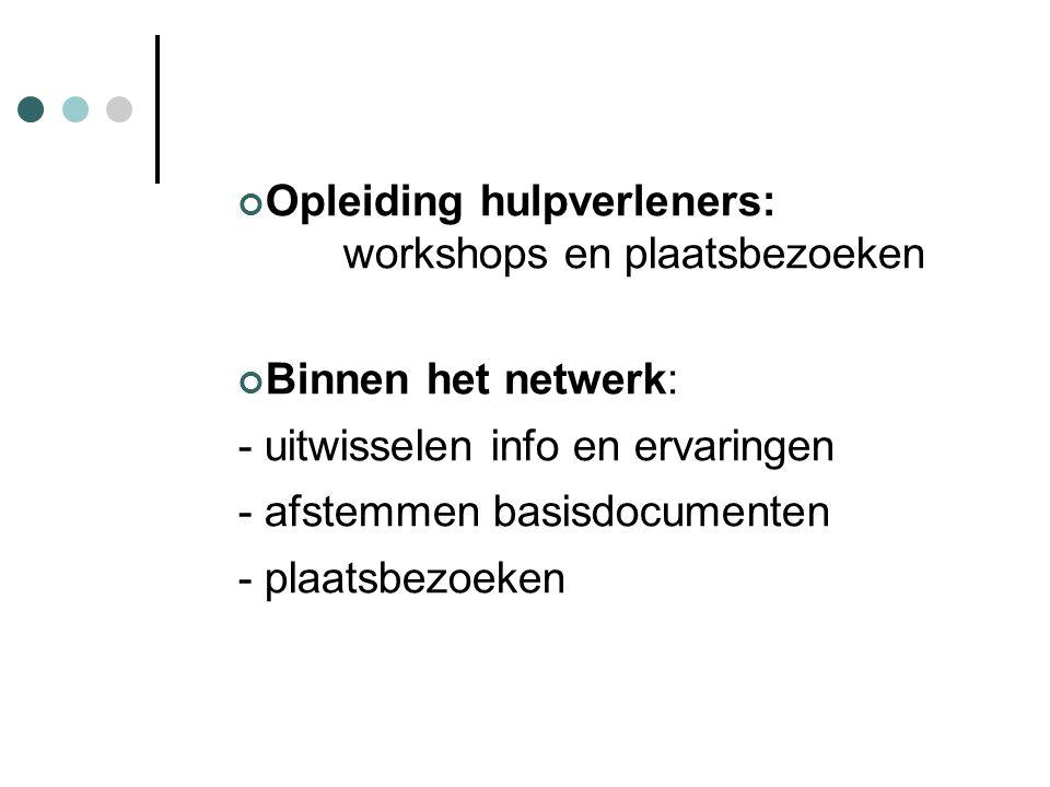 Opleiding hulpverleners: workshops en plaatsbezoeken