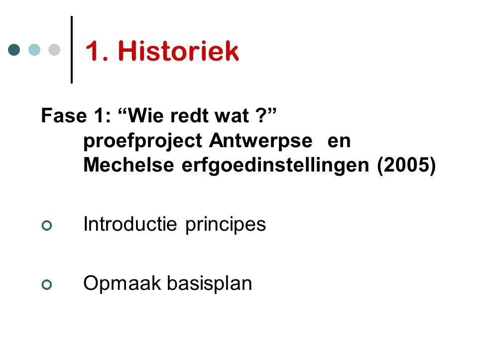1. Historiek Fase 1: Wie redt wat proefproject Antwerpse en Mechelse erfgoedinstellingen (2005)
