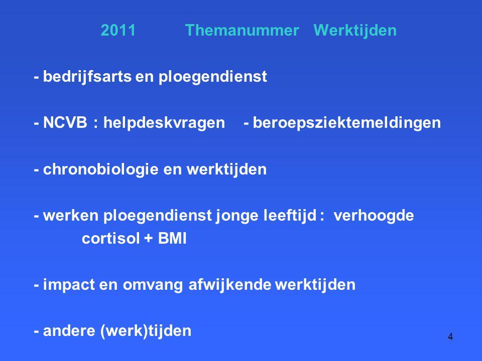 2011 Themanummer Werktijden - bedrijfsarts en ploegendienst - NCVB : helpdeskvragen - beroepsziektemeldingen - chronobiologie en werktijden - werken ploegendienst jonge leeftijd : verhoogde cortisol + BMI - impact en omvang afwijkende werktijden - andere (werk)tijden