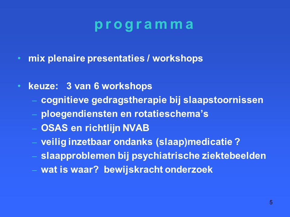 programma mix plenaire presentaties / workshops