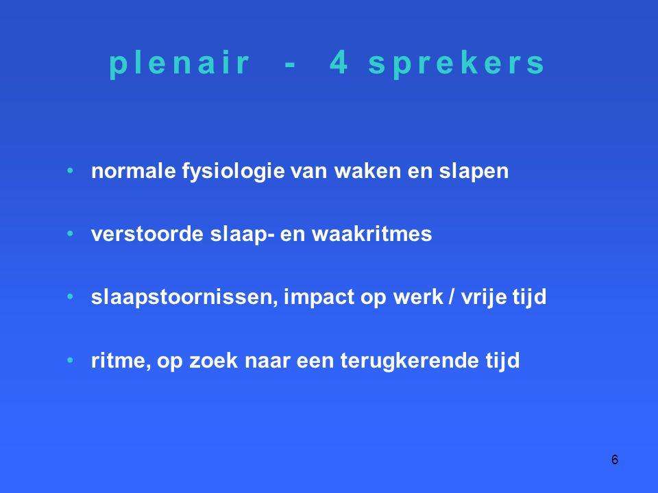 plenair - 4 sprekers normale fysiologie van waken en slapen