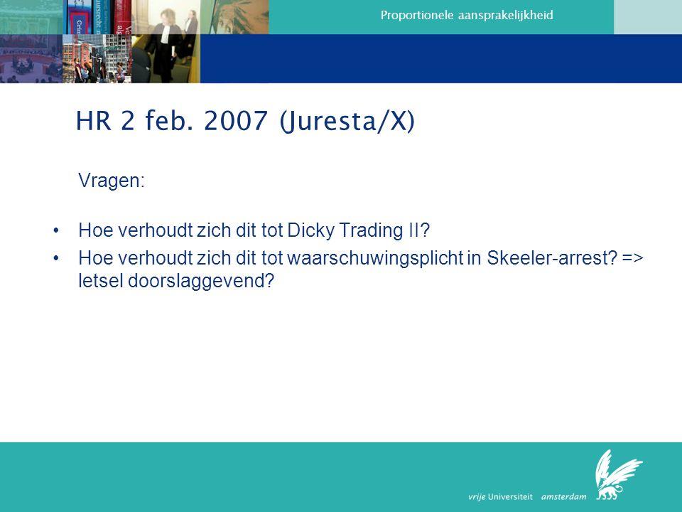 HR 2 feb. 2007 (Juresta/X) Vragen: