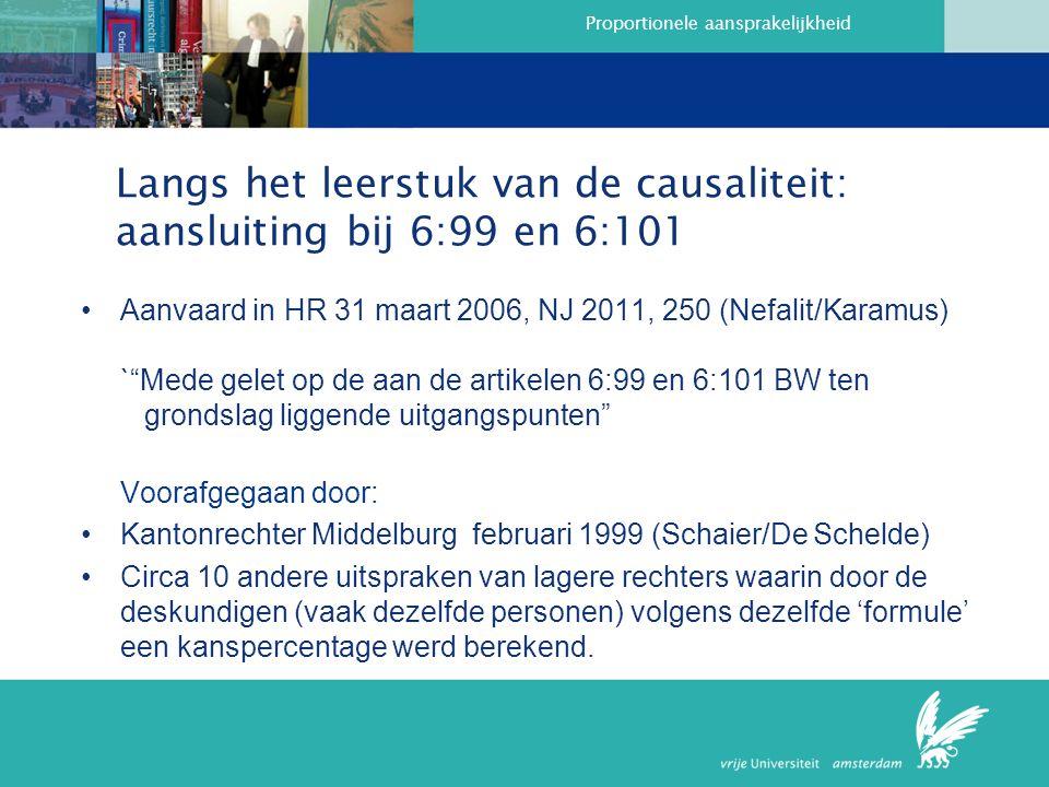 Langs het leerstuk van de causaliteit: aansluiting bij 6:99 en 6:101