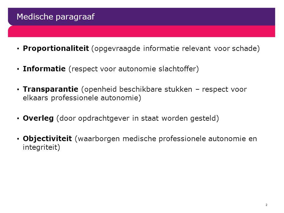 Medische paragraaf Proportionaliteit (opgevraagde informatie relevant voor schade) Informatie (respect voor autonomie slachtoffer)