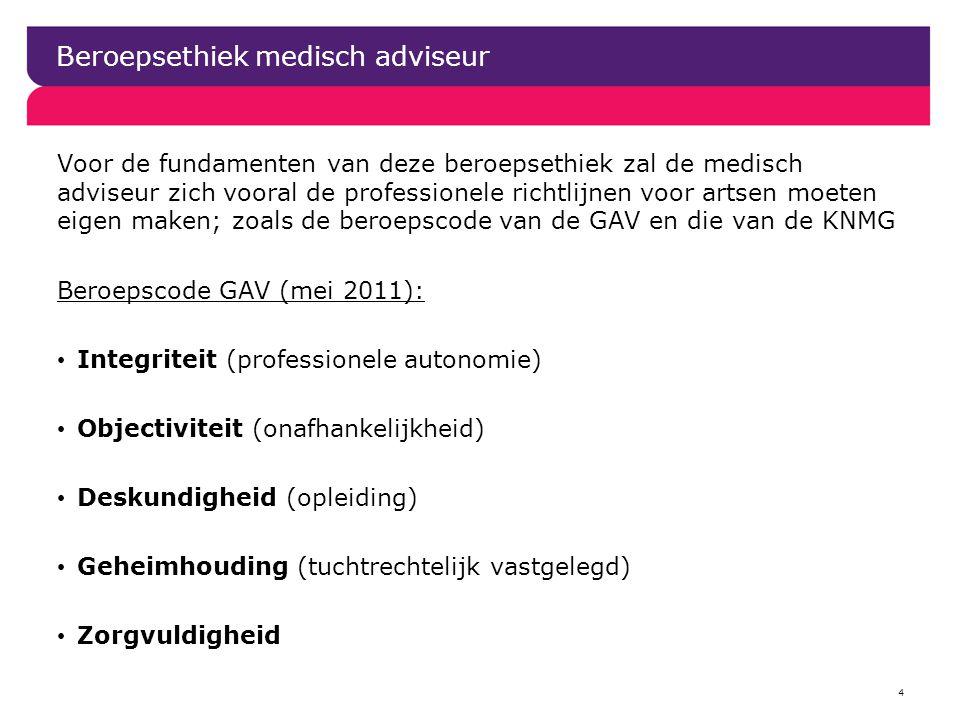 Beroepsethiek medisch adviseur