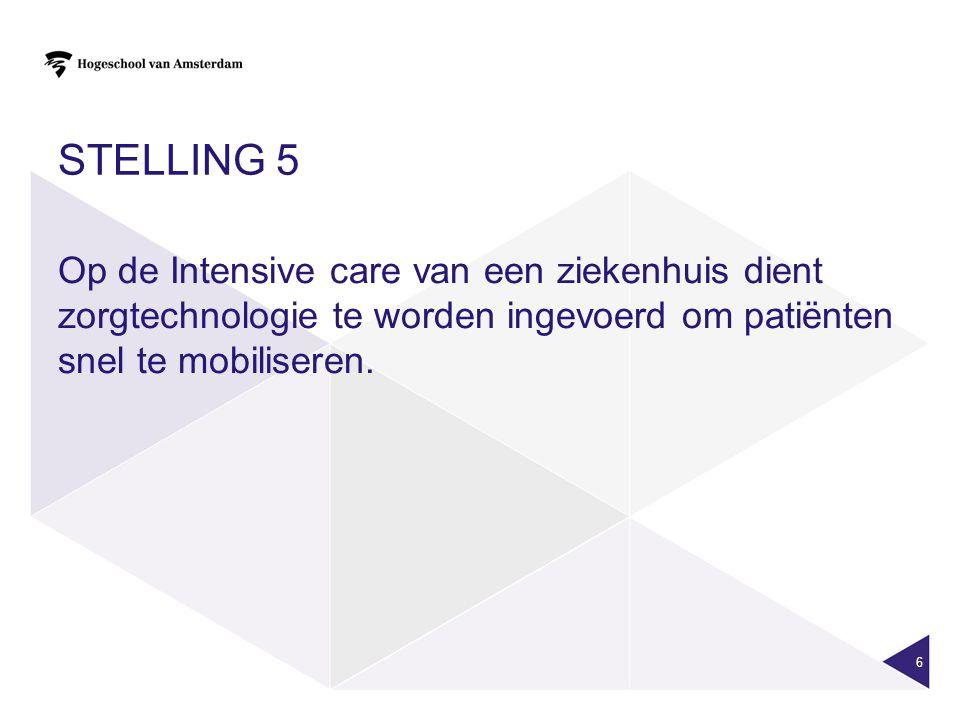 Stelling 5 Op de Intensive care van een ziekenhuis dient zorgtechnologie te worden ingevoerd om patiënten snel te mobiliseren.