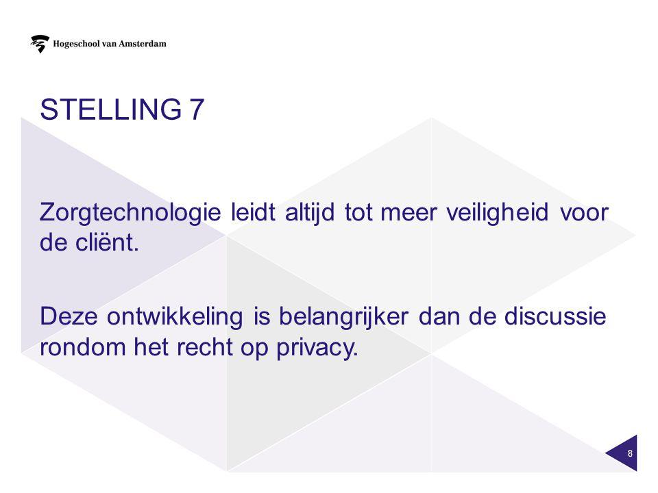 Stelling 7 Zorgtechnologie leidt altijd tot meer veiligheid voor de cliënt.