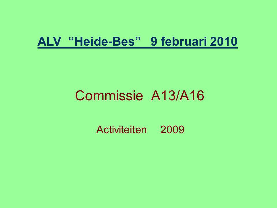 Commissie A13/A16 Activiteiten 2009