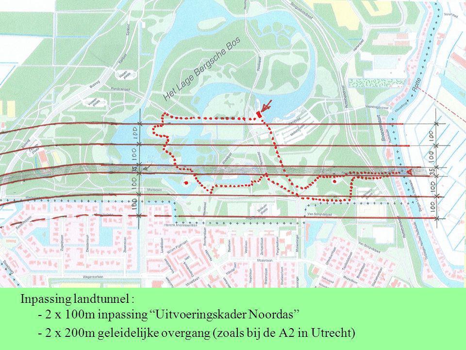 Inpassing landtunnel : - 2 x 100m inpassing Uitvoeringskader Noordas