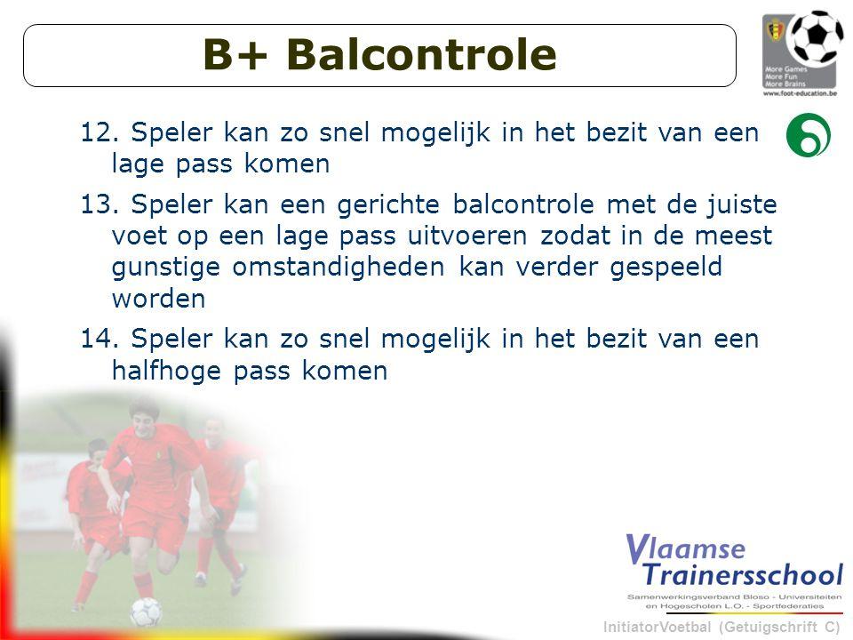 B+ Balcontrole Speler kan zo snel mogelijk in het bezit van een lage pass komen.