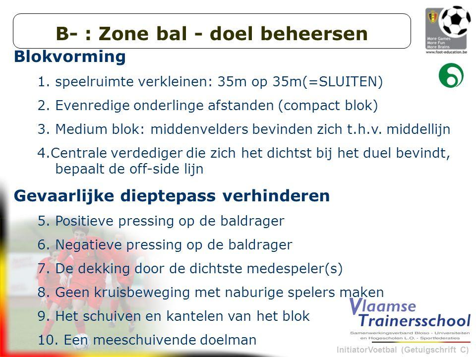 B- : Zone bal - doel beheersen