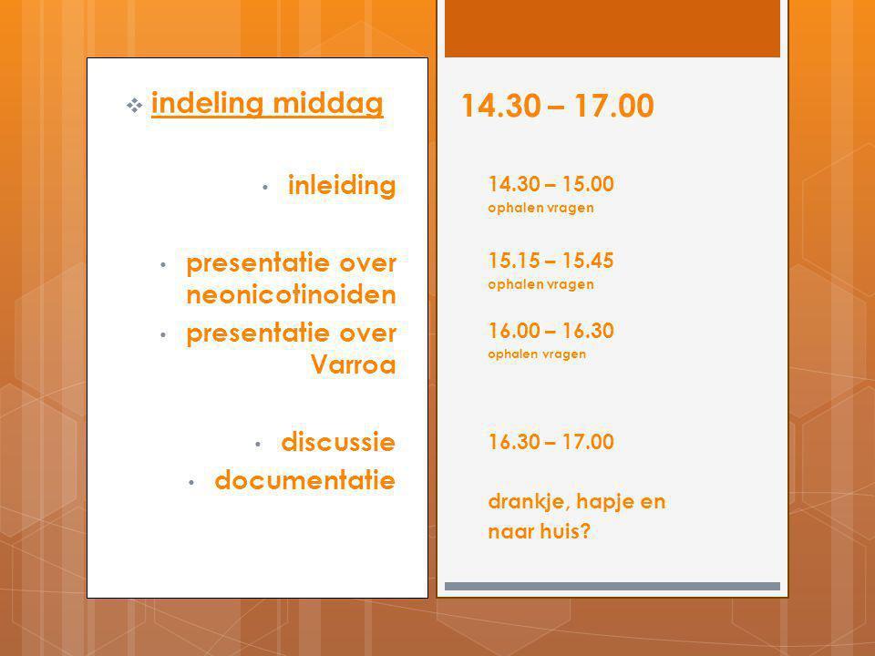 14.30 – 17.00 indeling middag inleiding