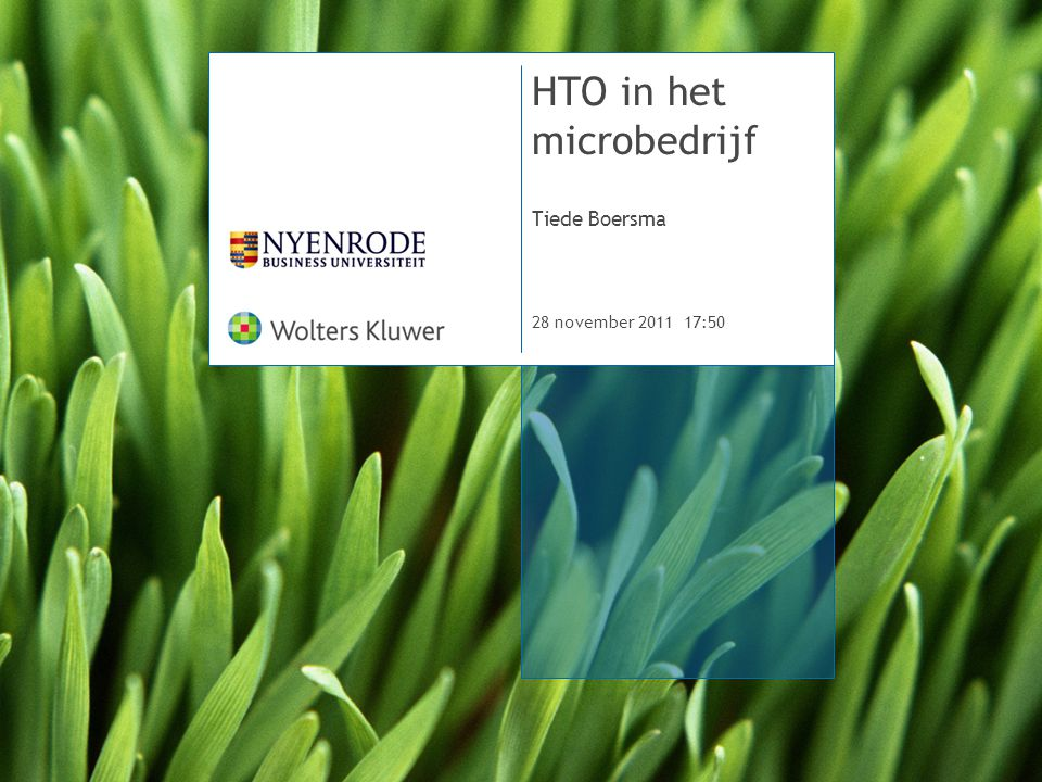 HTO in het microbedrijf