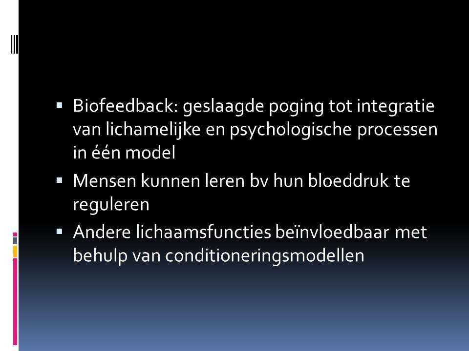 Biofeedback: geslaagde poging tot integratie van lichamelijke en psychologische processen in één model