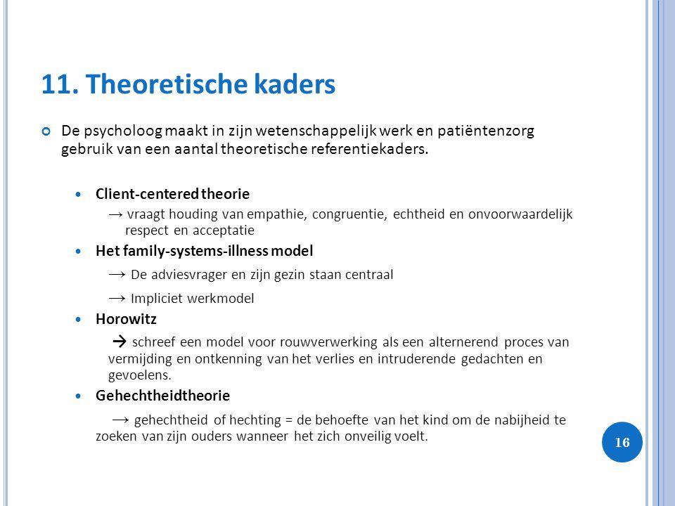 11. Theoretische kaders De psycholoog maakt in zijn wetenschappelijk werk en patiëntenzorg gebruik van een aantal theoretische referentiekaders.