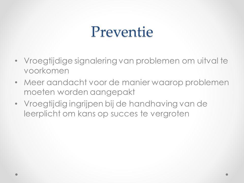 Preventie Vroegtijdige signalering van problemen om uitval te voorkomen. Meer aandacht voor de manier waarop problemen moeten worden aangepakt.