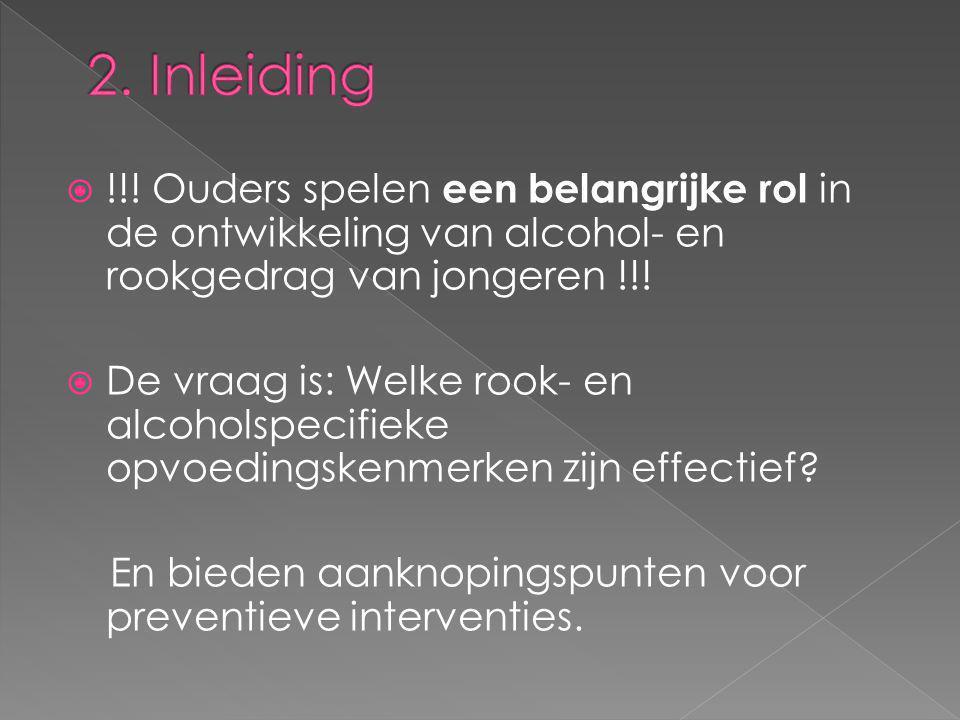 2. Inleiding !!! Ouders spelen een belangrijke rol in de ontwikkeling van alcohol- en rookgedrag van jongeren !!!