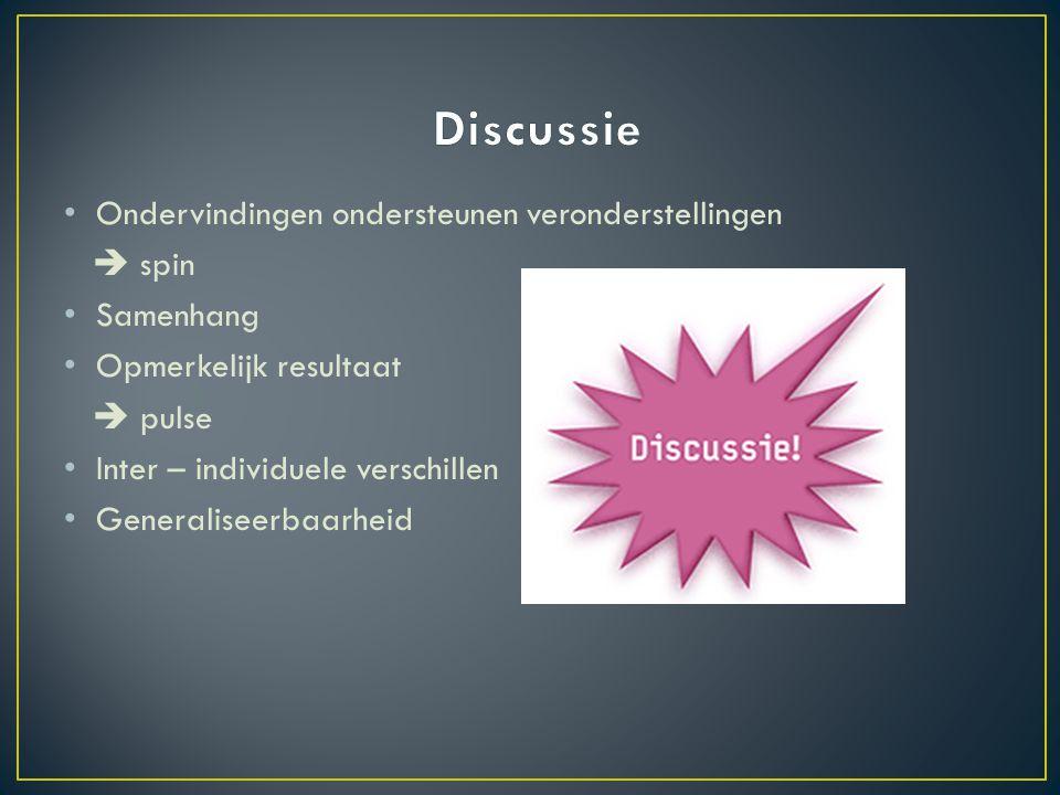 Discussie Ondervindingen ondersteunen veronderstellingen  spin