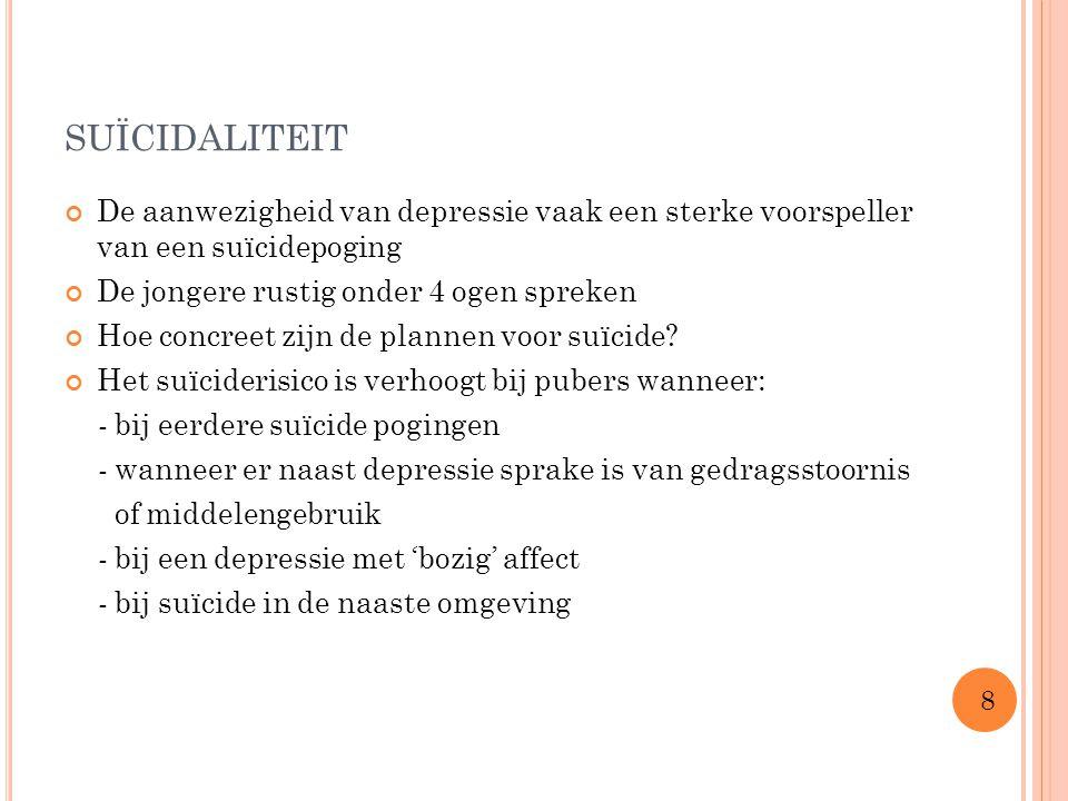 suïcidaliteit De aanwezigheid van depressie vaak een sterke voorspeller van een suïcidepoging. De jongere rustig onder 4 ogen spreken.
