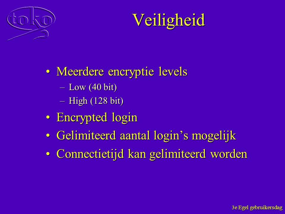 Veiligheid Meerdere encryptie levels Encrypted login