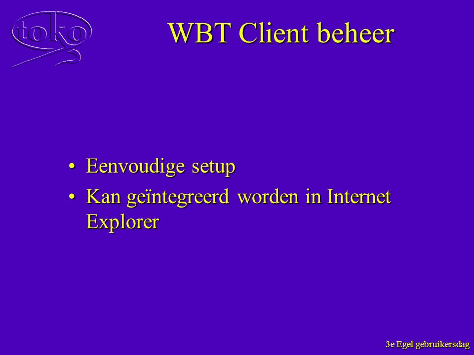 WBT Client beheer Eenvoudige setup
