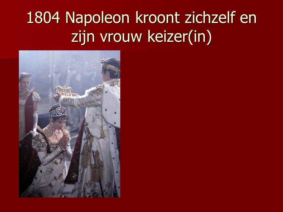 1804 Napoleon kroont zichzelf en zijn vrouw keizer(in)