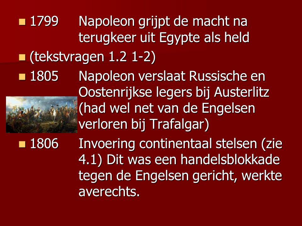 1799 Napoleon grijpt de macht na terugkeer uit Egypte als held