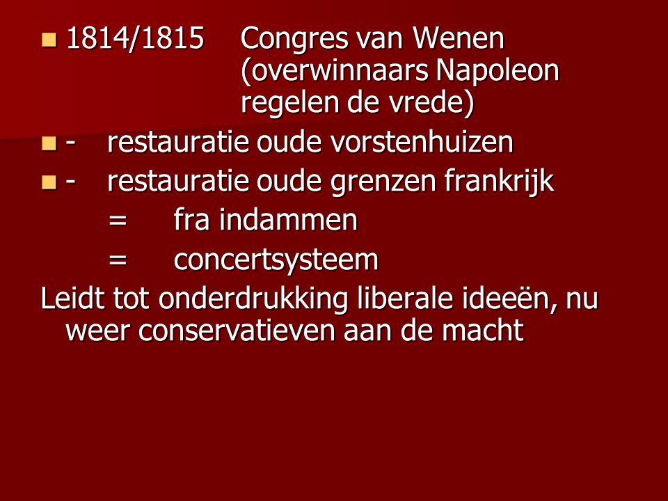 1814/1815 Congres van Wenen (overwinnaars Napoleon regelen de vrede)