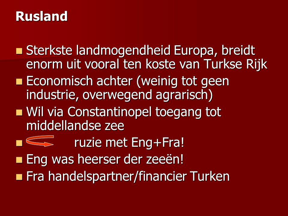 Rusland Sterkste landmogendheid Europa, breidt enorm uit vooral ten koste van Turkse Rijk.
