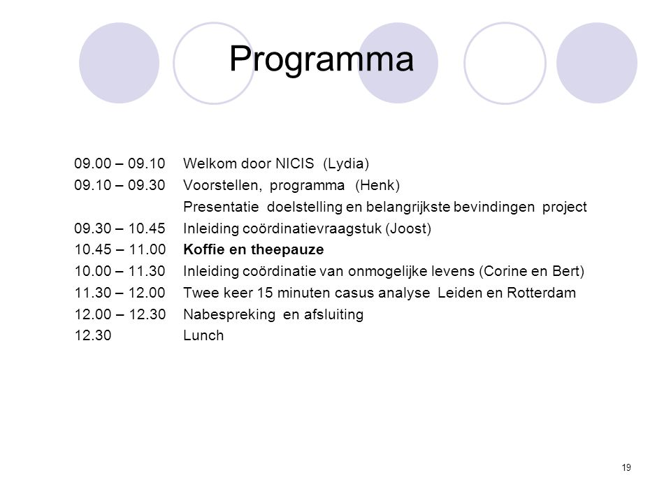 Programma 09.00 – 09.10 Welkom door NICIS (Lydia)