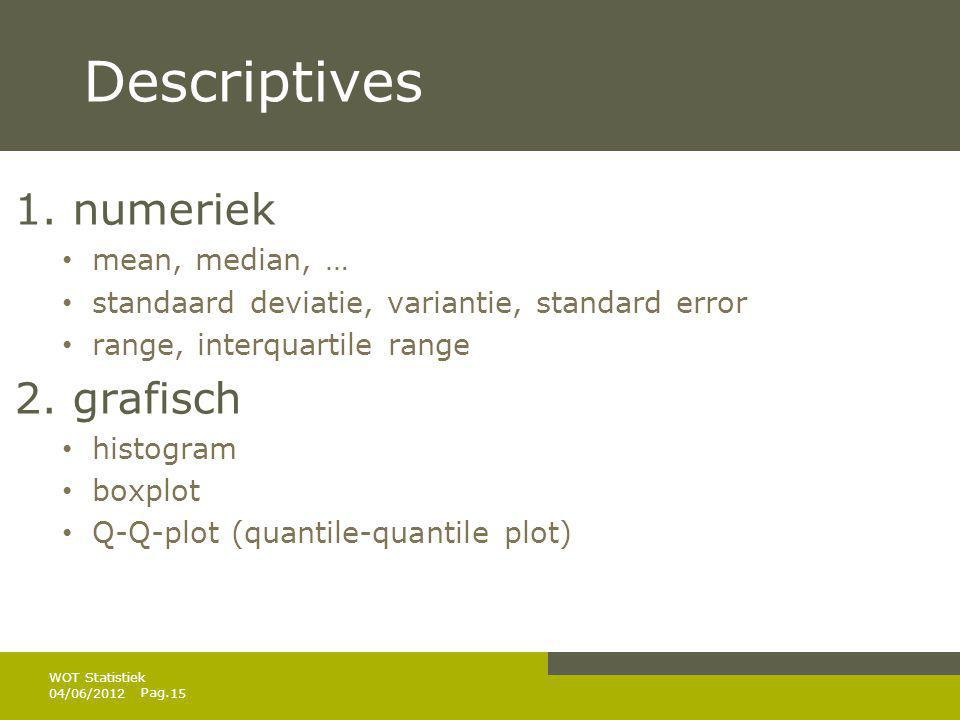 Descriptives 1. numeriek 2. grafisch mean, median, …