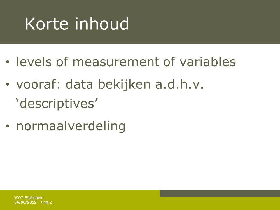Korte inhoud levels of measurement of variables
