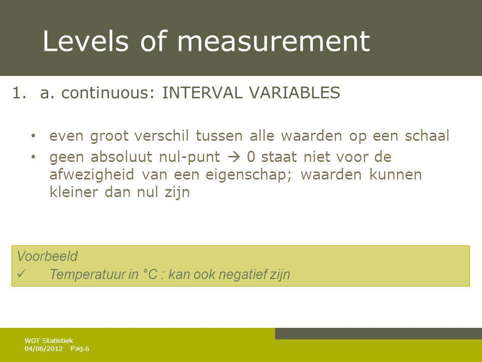 Levels of measurement a. continuous: INTERVAL VARIABLES