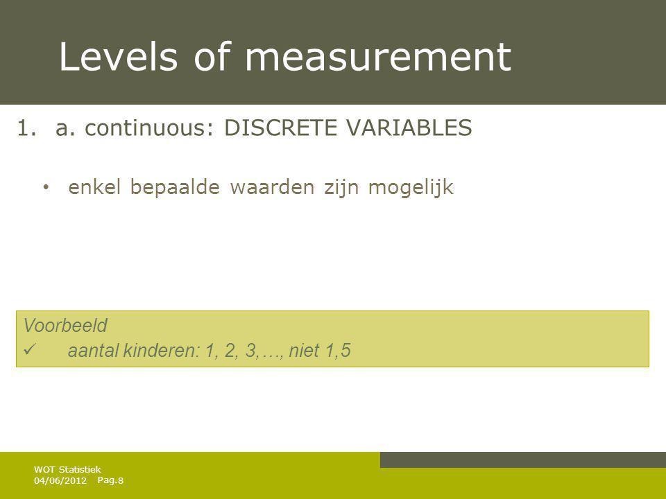 Levels of measurement a. continuous: DISCRETE VARIABLES