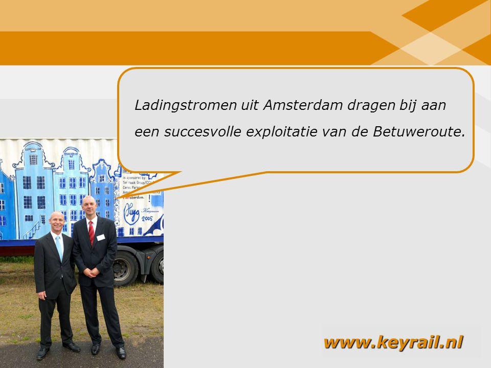 Ladingstromen uit Amsterdam dragen bij aan een succesvolle exploitatie van de Betuweroute.