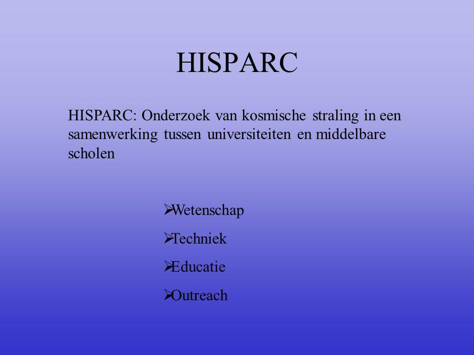 HISPARC HISPARC: Onderzoek van kosmische straling in een samenwerking tussen universiteiten en middelbare scholen.