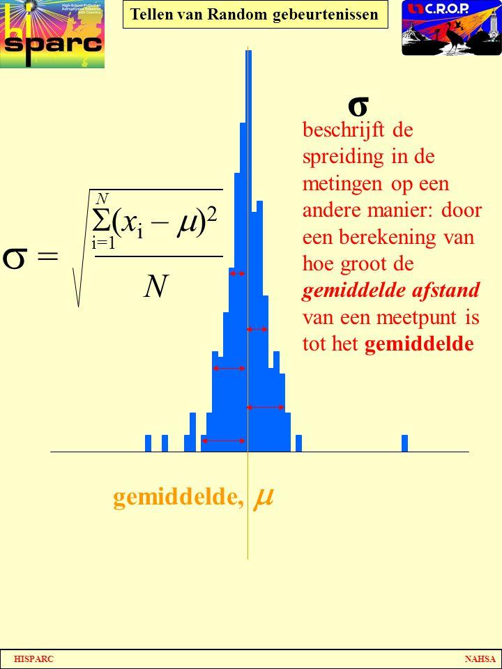 s = σ (xi – m)2 N gemiddelde, m