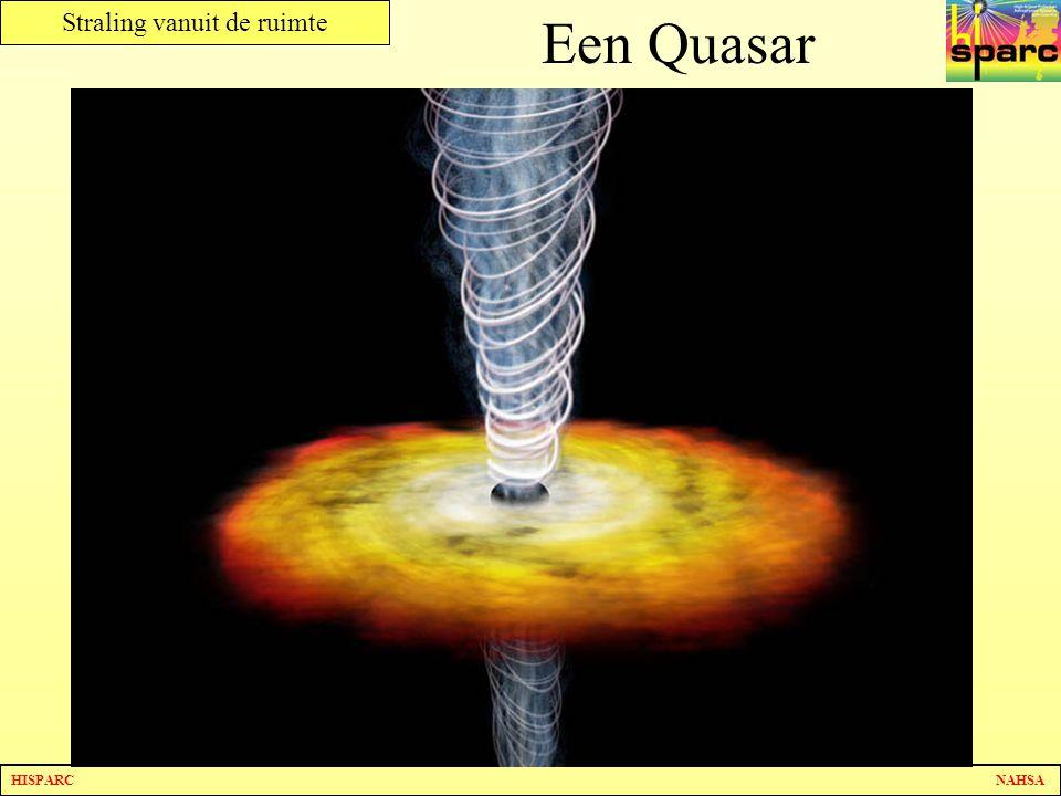 Een Quasar Een quasar is een ver verwijderd, zeer helder object. Uit de jet die eruit komt kunnen wel eens kosmische deeltjes zitten.