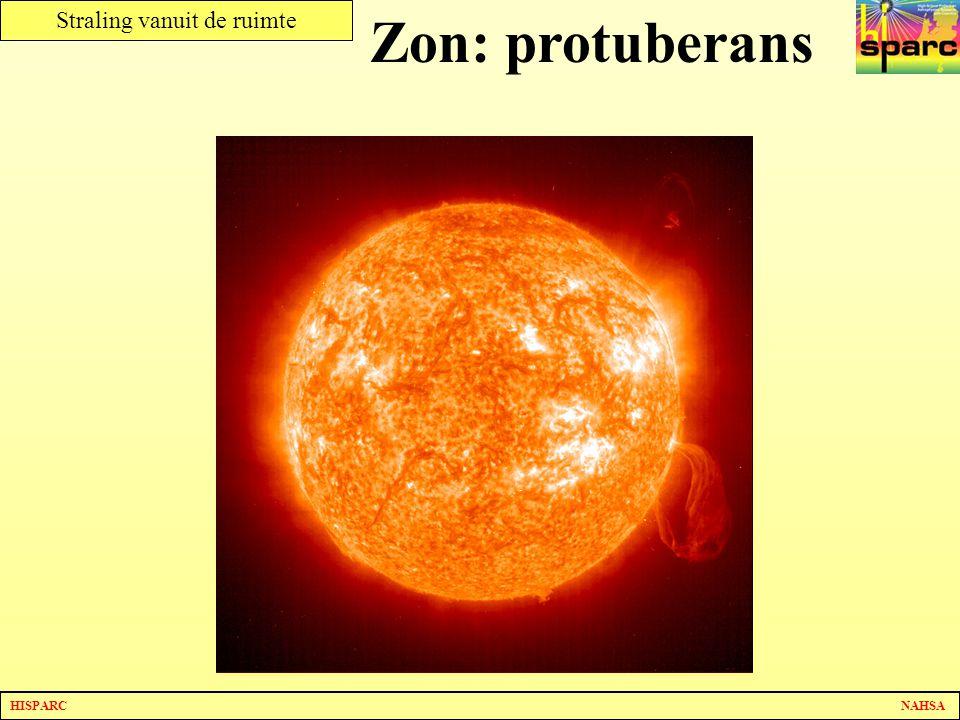 Zon: protuberans Deze foto is niet in het zichtbare spectrum gemaakt. De chromosfeer is zichtbaar.