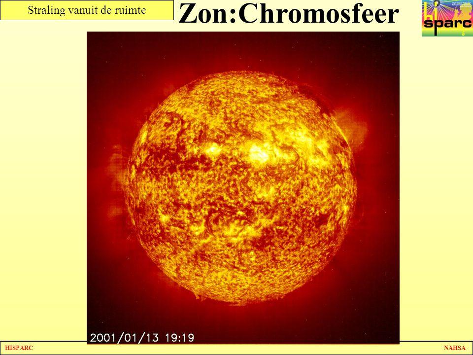 Zon:Chromosfeer Er zijn lichte en donkere plekken.