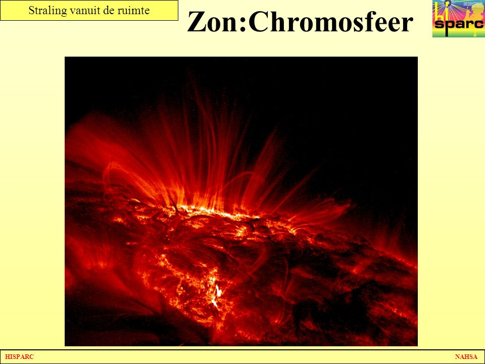Zon:Chromosfeer Als we een foto maken langs het oppervlak zien we goed hoe heftig de verschijnselen kunnen zijn.