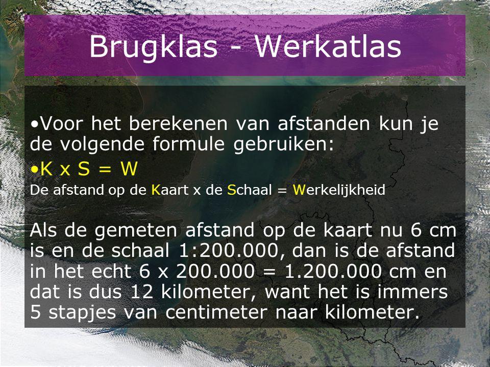 Brugklas - Werkatlas Voor het berekenen van afstanden kun je de volgende formule gebruiken: K x S = W.