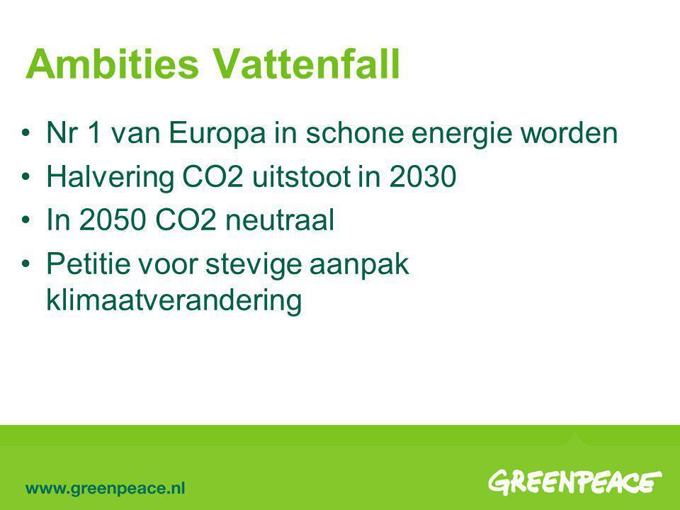 Ambities Vattenfall Nr 1 van Europa in schone energie worden