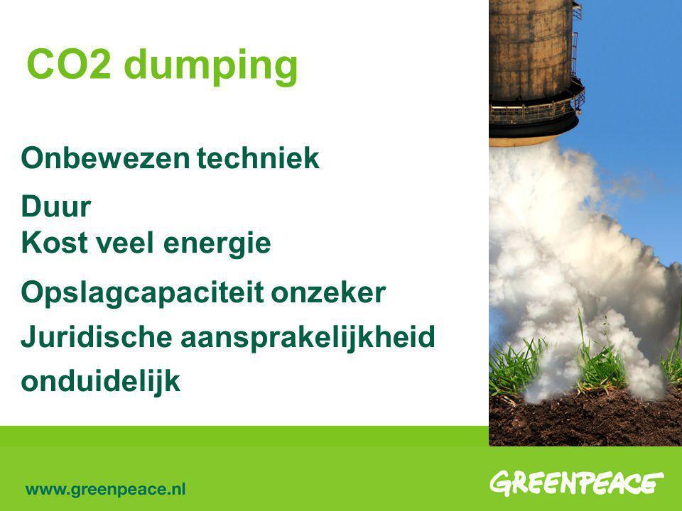 CO2 dumping Onbewezen techniek Duur Kost veel energie