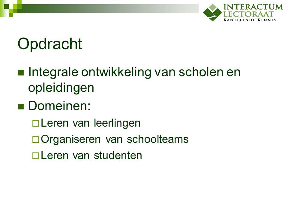 Opdracht Integrale ontwikkeling van scholen en opleidingen Domeinen: