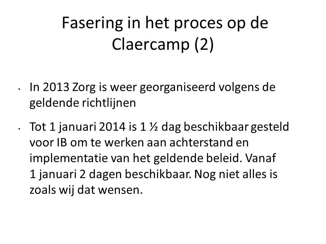 Fasering in het proces op de Claercamp (2)