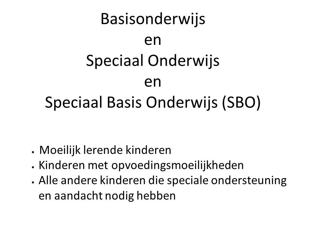 Basisonderwijs en Speciaal Onderwijs en Speciaal Basis Onderwijs (SBO)